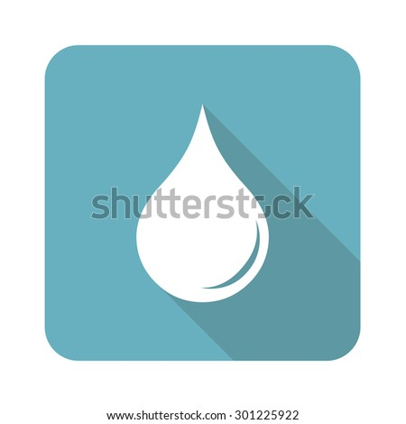 Image of liquid drop in blue square, isolated on white