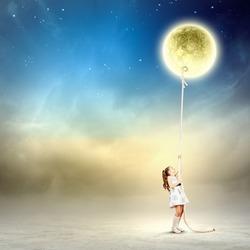 Image of little girl in white dress pulling moon