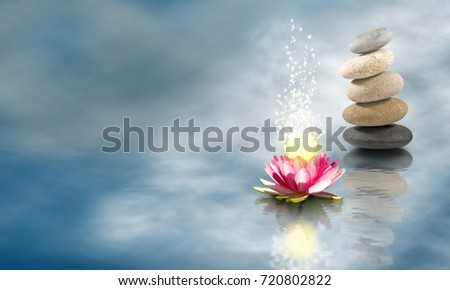 image of lotus flower and stones on the water #720802822