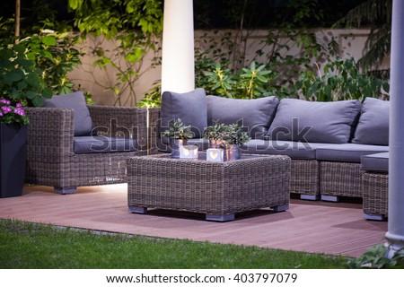 Image of luxurious simple rattan garden furnitures