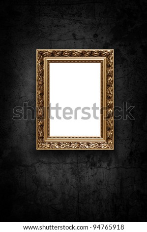 Image of luxury art frame on dark concrete wall