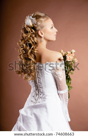Image of luxury bride with wedding hairstyle
