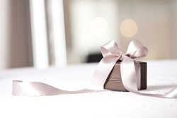 Image of luxury New Year gift. Holidays and celebration concept. Christmas background