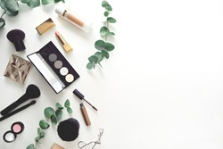 image of make up products on white background