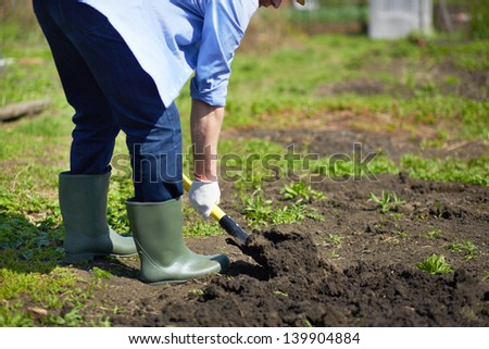Image of male farmer didgging in the garden