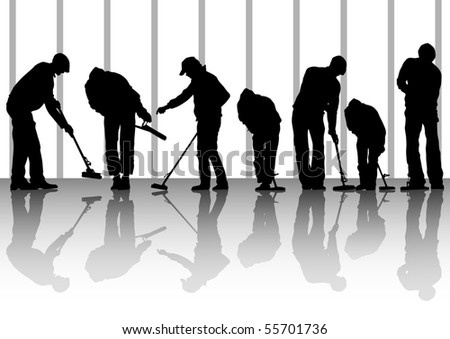 image of man, sweeping leaves. Silhouette of work people