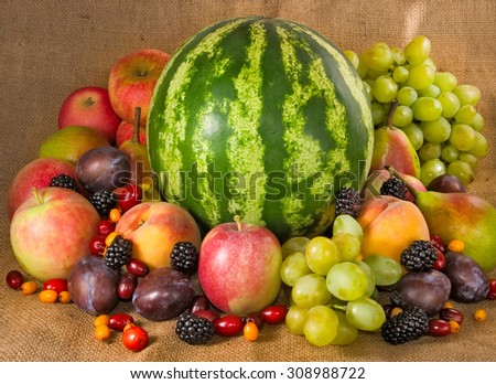 Image of many fruits and berries #308988722