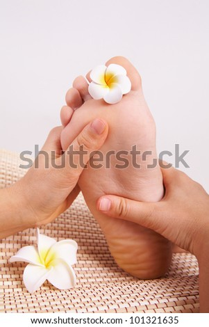 Image of massagist hands doing thai massage foot