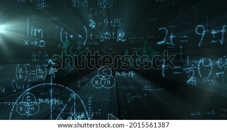 Image of mathematical equations floating over black background. Education back to school concept digitally generated image.