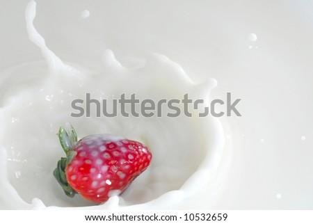 Image of milk splash with strawberry