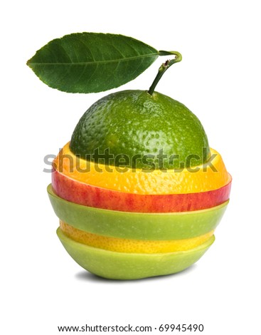 image of mixed fruits isolated on white background