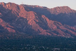 Image of Mount Wilson in the San Gabriel Mountains including some of the foothill areas of Altadena and Sierra Madre. Image taken from Pasadena looking north-east.