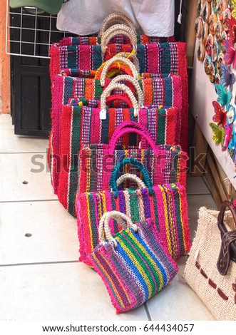 Image of multicolored bags, hand-woven with sisal fiber. Mexican craft #644434057