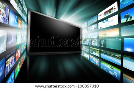 Image of multiple computer screens with various images
