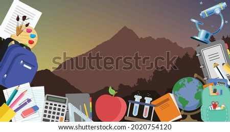 Image of multiple school items icons moving on seamless loop with landscape with mountains in the background. Education back to school concept digitally generated background.