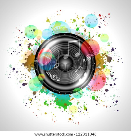 Image of music speaker against colourful background