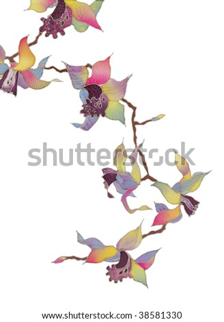 Image of my artwork with a orchid on white background