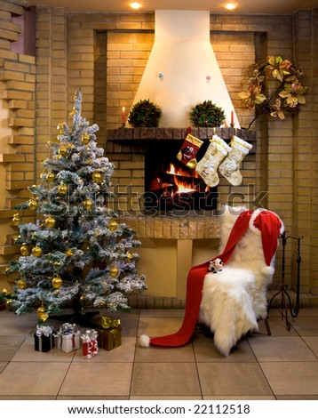 Image of nice comfortable room decorated for Christmas with fir tree, toys and decorations