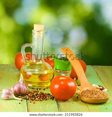 image of of different ingredients on a green background