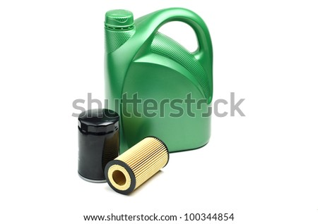 Image of oil canister and oil filters isolated