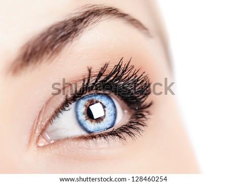 Image of one beautiful female blue eye, women's face part isolated on white background, ophthalmology clinic, health care, black mascara on eyelashes, sight treatment, healthy lifestyle concept