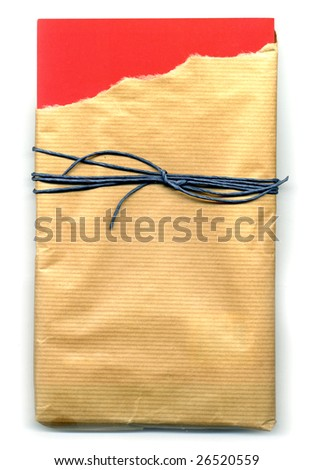 Image of open parcel tied up with strings (torn paper)