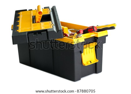 Image of open tool box with tools on white background