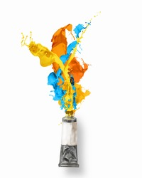 Image of paint tube with color splashes