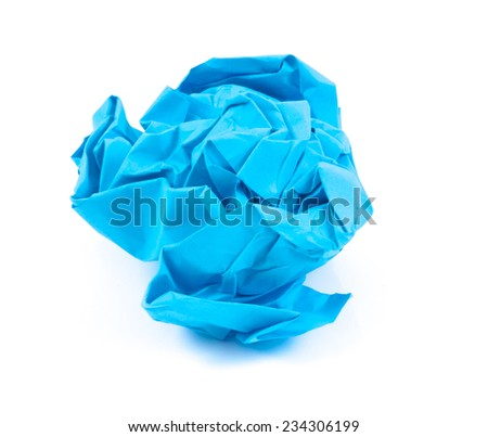 Image of paper crumpled blue color texture