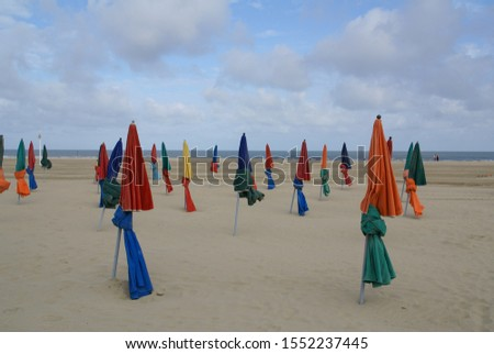 Image of parasols on the Beach of Deauville #1552237445