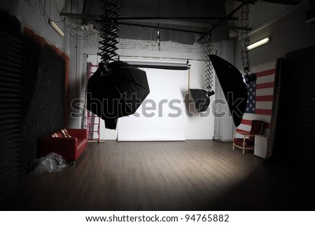 Image of photo studio with lighting equipment
