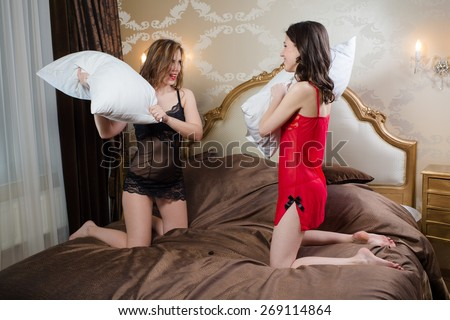 All above nude couples pillow fighting