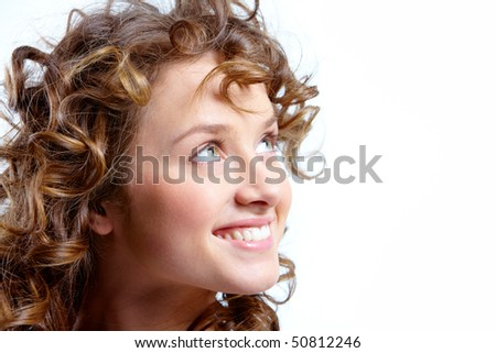 Image of pretty woman with beautiful curly hair