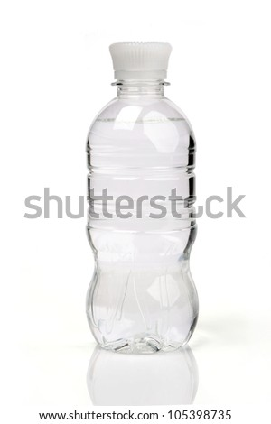 image of purified water bottle over white background