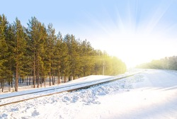 image of railway against winter forest