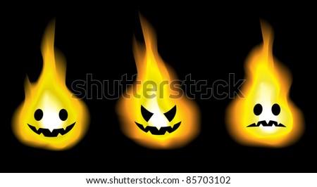 Image of realistic burning fire jack o lantern