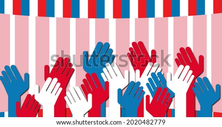 Image of red and blue hands over american flag. patriotism and celebration concept digitally generated image.