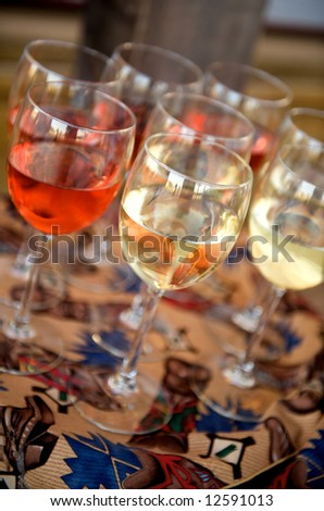Image of red and white wine at a western themed party
