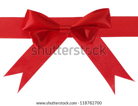 Image of red gift bow and ribbon on a white background