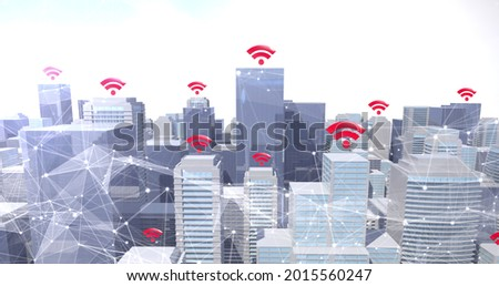 Image of red wifi symbols and network of connections of modern cityscape. digital interface connection and communication concept digitally generated image.
