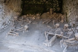 Image of remains of refugees from Herculaneum after tragedy of eruption of Vesuvius, Campania, Italy