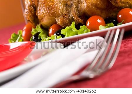 Image of roasted turkey on Christmas dinnertable