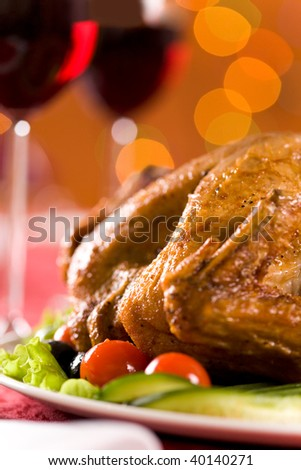Image of roasted turkey with vegetables