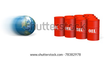 Image of rolling Earth about to hit a group of oil barrels arranged like bowling pins.
