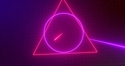 Image of rotating red and pink neon shapes with pink and red laser beams on dark background. technology, energy and movement concept, digitally generated image.