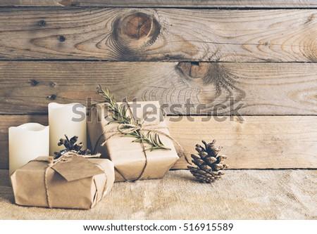 Image of rustic christmas scene. #516915589