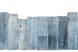 Image of Rusty corrugated metal isolate on white background with clipping path