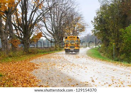 Image of school bus is taking the road that full of autumn trees with dried leaves