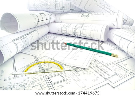 Image of several drawings of the project and instruments Project drawings
