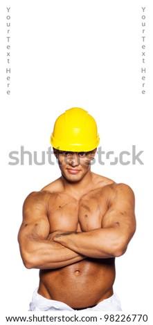 Image of sexy builder with helmet - stock photo